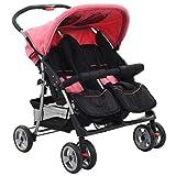 vidaXL Zwillingswagen Kinderwagen Geschwisterwagen Zwillingsbuggy Baby Kleinkinder Rosa Schwarz Stahl 6-36 Monate Nebeneinander Klappbar