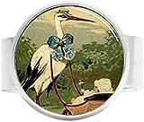 Handgefertigter feiner Storch- und Babywagen-Schmuck, Charm-Ring, Vintage-Kunst, Fotoschmuck