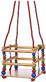 Hess Holzspielzeug 31101 - Gitterschaukel aus Holz mit bunten Perlen und Ringen, handgefertigt, für...