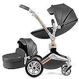 Hot Mom Kombikinderwagen 2 in 1 Kinderwagen 2021 Neues Design 360 Derhbar (Dark Grey)