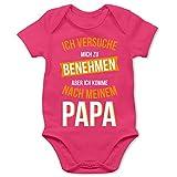 Shirtracer Sprüche Baby - Ich versuche Mich zu benehmen Papa orange - 3/6 Monate - Fuchsia - Body Madchen lustig - BZ10 - Baby Body Kurzarm für Jungen und Mädchen
