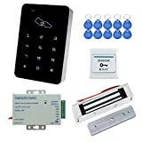 YAVIS RFID Zugangskontrolle System Kit Set Touchscreen Codeschloss Türöffner + 180kg / 350lbs Elektrische Magnetschloss + K80 3A-Netzteil + Exit-Taste + 10pcs RFID ID Keyfobs
