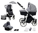 Skyline 3in1 Kombi Kinderwagen mit einem Aluminium Gestell, Babywanne, Sport Buggyaufsatz und...