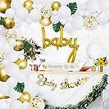 Baby Shower Ballon Girlande Arch Kit Weiß und Gold 105 Pack Mummy zu sein Schärpe, Baby Shower Ballon Banner Dekoration Set für junge Mädchen Geburtstagsfeier