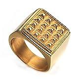 Wibbosad Herren Groß Gesicht Nieten Einfach Herrschsüchtig Rostfreier Stahl Ringe,Gold,Größe 59 (18.8)