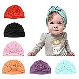 CANSHOW 6 Stücke Baby Mütze Neugeborene 100% Super Weich Baumwolle Elastische Stretch Turban...