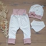 ANGEBOT Set - Hose, Schleifenmütze, Halstuch - Cremeweiss Punkte Rose (Rose) Baby Mädchen