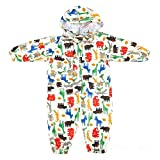 mama stadt Regen Overall Kinder Unisex 100% Wasserdichter Regenanzug Kinder Regenoverall Jungen Mädchen Leichter Regenmantel, Gelb/S(1-3 Jahre)