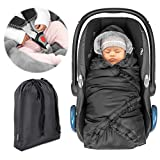 Zamboo Einschlagdecke für Babyschale (z.B. Maxi Cosi, Cybex, Kiddy) - praktische Alternative zum Winter Fußsack, weiches und wattiertes Thermo Fleece - Schwarz