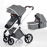 BEQOONI® Kinderwagen 2 in 1 Kombikinderwagen mit Babywanne & Buggy/Sportaufsatz, kleines Klappmaß,...