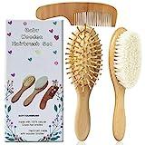 3PCS Baby-Haarbürste und Kammsatz für Neugeborene - Haarbürste aus Naturholz mit weichen...
