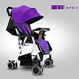 Mini Kinderwagen Kann mit Einer Hand Zusammenklappbar ins Flugzeug Sehr Leicht und Klein Reisebuggy Kindersportwagen,Purple