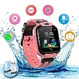 Smartwatch Kinder Wasserdicht Kids Smart Watches Phone Uhr für Kinder Jungen Smartwatch Mädchen mit LBS Tracker Voice Chat, Pink