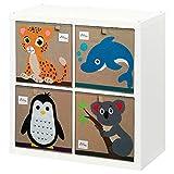Aufbewahrungsbox Kinder mit tollen Tiermotiven 4er Set fürs Kinderzimmer
