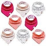Baby Dreieckstücher 8 Stück Halstuch süße unisex aus Baumwolle mit verstellbaren Druckknöpfen...