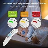 Hkiytime Fieberthermometer Stirnthermometer Ohrthermometer,Digitales Infrarot thermometer für Babys, Erwachsene und Objekte, 4-in-1 Multifunktions Tricolor Alarm,CE/RoHS/FDA