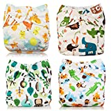Yeelan All-in-One Taschenfaser Mesh Baby Stoff Windel Waschbare wiederverwendbare Windeln Einsatz für Kleinkinder & Babys (Gelber Fuchs) (Giraffe)