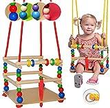 alles-meine.de GmbH Schaukel aus Holz - mit Gurt - Gitterschaukel / Kinderschaukel - mitwachsend & verstellbar - Holzschaukel - Leichter Einstieg ! - Babyschaukel - verstellbare ..