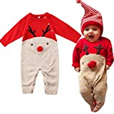 Neugeborenes Dickes Weihnachten Overall Gestrickten Pullover für Kleinkind Baby Junge Mädchen Hirsch Warme Winter Outfits Kleidung Strampler (A, 6-12M)