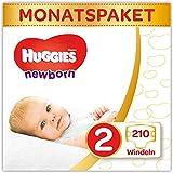 Huggies Newborn Baby Windeln Größe 2, 3 bis 6 kg, Für Neugeborene, Mit Nässeindikator, 210 Windeln, Monatsbox, Monatspack, Großpackung