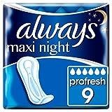 Always Maxi Profresh Night Damenbinden ohne Flügel (9 Stück) super saugfähig mit SecureGuard-Auslaufschutz, neutralisiert Gerüche, KomfortFit & InstantDry-Technologie