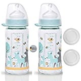 NIP Weithalsglasflasche Glas Flasche Creme // 2er Set // Glas-Babyflasche // 240 ml // mit Weithalstrinksauger anatomisch, Silikon, Gr. 0+, Milch