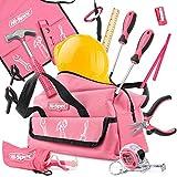 Hi-Spec Kinderwerkzeug in Pink-Rosa. Werkzeug in Kindergröße Hammer, Schraubernzieher, Schutzbrille und Helm in Einer Pinken Werkzeugtasche.
