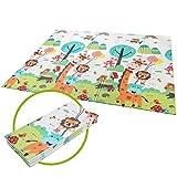 Bamny Spielmatte Baby Geruchlos Teppich Spielteppich Faltbarer Krabbelmatte Ungiftig XPE-Schaumboden rutschfest Beidseitig Tragbar Wasserdicht für Innen (Cartoon Muster)