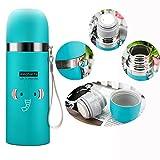 Gearmax® 500ml Isolierflasche Thermosflasche Baby Kinder Trinkflasche Thermoskanne Wasserflasche Sportflasche Doppelwandig Edelstahl Tier Vakuumflasche mit Lanyard - Blau