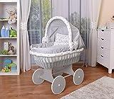 WALDIN Baby Stubenwagen-Set mit Ausstattung,XXL,Bollerwagen,komplett,26 Modelle wählbar,Gestell/Räder grau lackiert,Stoffe grau/Sterne-grau
