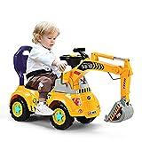 DREAMADE Sitzbagger mit Licht und Sound für Kleinkinder(3-5 Jahre alt ), Kinderauto Bagger aus PP Material, Aufsitzbagger elektrischer Sandbagger, Kinderfahrzeug mit Eimer, Kinderbagger Schaufelbagger
