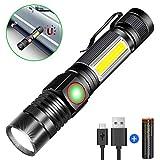 Taschenlampe LED Magnet USB Aufladbar, Karrong Zoom Wasserdicht 4 Modi Taschenlampen für Outdoor Camping