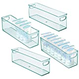 mDesign 4er-Set Kunststoffbox für Babynahrung – Aufbewahrungsbehälter mit Griffen – praktische Sortierbox für Muttermilchbeutel aus BPA-freiem Kunststoff – hellblau