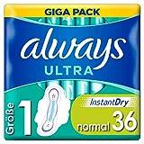 Always Ultra Binden Damen Gr. 1 (36 Damenbinden mit Flügeln) Giga Pack, ultra dünn und super...