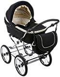 Friedrich Hugo PCS_NL-B2-2IN1-GC-R1-BLACK Natureline Uni, 2 in 1 Kombi Kinderwagen, Öko Nostalgie...