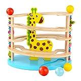 BeebeeRun Spielzeug aus Holz für Kleinkinder,Kugelbahn aus Holz ,Murmelbahn mit 3 Kugels,Premium Holzkugelbahn mit Zubehör in leuchtenden Farben ,Spielzeug ab 3 Jahr