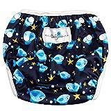 Babyino wiederverwendbare Schwimm-Windel   Bade-Hose für Babys und Kleinkinder (Blau Fisch) 6 bis 24 Monate Verstellbare Größe mitwachsende Schwimm-Kleidung