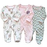 Baby Jungen Mädchen Overall Baumwolle Strampler Langarm-Body Schlafanzug Spielanzug Neugeborenes...