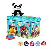 Relaxdays Sitzbox Kinder, Faltbare Aufbewahrungsbox mit Stauraum, Deckel, Zirkus Motiv, Jungen & Mädchen, 50 l, türkis