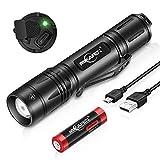 MIKAFEN LED Taschenlampe Extrem Hell 1200 Lumens, USB Aufladbar Taschenlampe Outdoor mit 3 Modi, Memory Funktion,IP7 Wasserdicht (Mit 18650 Akku)