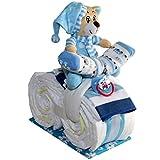 Kleines Windelmotorrad Justin 21tlg. für Jungen Geschenk zur Geburt Taufe Windeltorte (Blau)