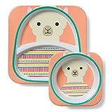 Skip Hop Zoo Melamin Geschirrset, Kinderteller und Breischale für Kinder, Lama Luna, mehrfarbig