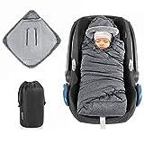 Zamboo Einschlagdecke für Babyschale und Kinderwagen - praktische Alternative zum Baby Winter-Fußsack, weiches und wattiertes Thermo Fleece - Grau (Pro)