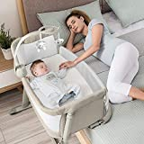 ADOVEL 2 in 1 Babybett, Beistellbett Baby und Freistehendes Kinderbett, Baby Bett mit Rollen,...