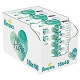 Pampers Aqua Pure Baby Feuchttücher, 864 Tücher (18 x 48) Mit 99% Purem Wasser, Dermatologisch...