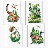 Sunnywall® 4er Set Dinosaurier T-Rex Brachiosaurus Triceratops Poster Kinderzimmer - A4 Bilder...
