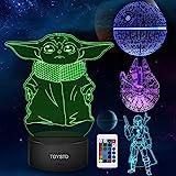 Star Wars Geschenke 3D Lampe Spielzeug Nachtlicht mit 4 Mustern und 7 Farbwechsel Dekor Lampe - Perfekte Geschenke für Star Wars Fans Herren Jungen und Mädchen Männer (7-colors)