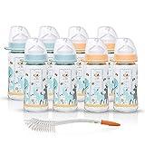 NIP Weithalsglasflasche Glas Flaschen Set Uni // 8er Set // Glas-Babyflasche // 240 ml // mit Weithalstrinksauger anatomisch, Silikon, Gr. 0+, Milch // NIP Flaschen- und Saugerbürste 2 in 1