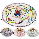 all Kids United Kinder Spielzeug-Beutel Aufbewahrungsbeutel Ø 140cm Spielzeugsack Aufräumsack & Spieldecke; Flamingos (Blau)