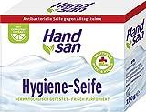Hand san Hygiene-Seife, 100 g, antibakterielles Seifenstück, wirksam gegen Keime, feste Seife für kraftvolle Pflege & Hygiene, mit Grapefruit Extrakt, dermatologisch getestet